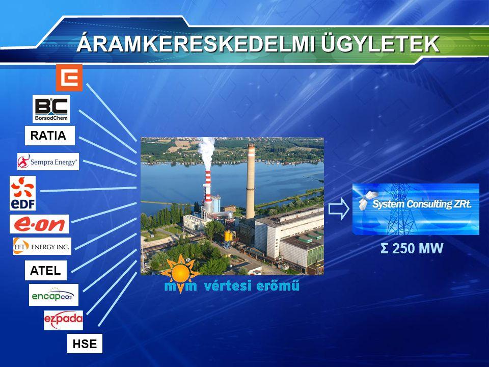 ÁRAMKERESKEDELMI ÜGYLETEK ÁRAMKERESKEDELMI ÜGYLETEK Σ 250 MW RATIA ATEL HSE
