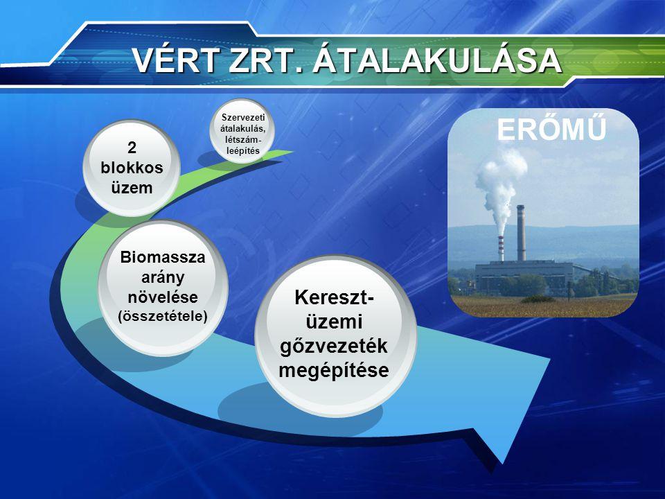 VÉRT ZRT. ÁTALAKULÁSA ERŐMŰ Kereszt- üzemi gőzvezeték megépítése 2 blokkos üzem Szervezeti átalakulás, létszám- leépítés Biomassza arány növelése (öss