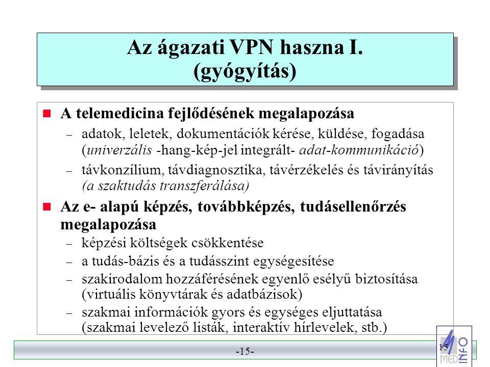 -14- 14 Kapcsolódási lehetőség az ellátórendszer számára  Az ágazat főbb szereplői számára (EüM, OEP, ÁNTSz, MEDINFO, GYÓGYINFOK, OVSZ, OMSZ) fix, védett, nagysebességű kapcsolat a VPN-en keresztül  Az ellátórendszer számára: – kórházaknak teljes körben vegyes megoldással – járóbeteg-ellátás: fakultatív kapcsolat szabadon választott technikával  csatlakozási lehetőség alternatívái: – az intézmény kapcsolódik a VPN-hez, és Internet kijáratot kap (A VPN az alapszolgáltató) – az intézmény megtartja a saját Internet szolgáltatóját, de bejárata van a VPN-be a szenzitív adatok továbbításához.