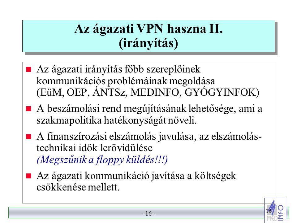 -15- 15 Az ágazati VPN haszna I. (gyógyítás)  A telemedicina fejlődésének megalapozása – adatok, leletek, dokumentációk kérése, küldése, fogadása (un