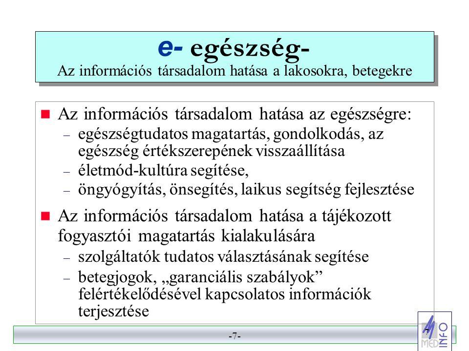 -6- 6 e- gyógyítás- Az információs társadalom hatása az egészségügyi ellátókra, szolgáltatásokra  főirány: a szolgáltatók kommunikációja, az orvos-orvos közötti kommunikáció, a telemedicina fejlesztése – hálózatfejlesztés (VPN jelleggel) – szabványfejlesztés •technikai szabványok (CEN, HL7, stb.) •szakmai szabályok  az orvosi tudás kiterjesztése és globalizációja – a szakmai tudás és szabályozás egységesülése – IT alapú képzés, továbbképzés, szakképzés, tudás- ellenőrzés.
