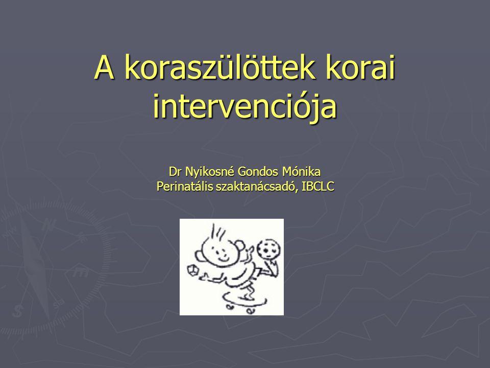 A koraszülöttek korai intervenciója Dr Nyikosné Gondos Mónika Perinatális szaktanácsadó, IBCLC
