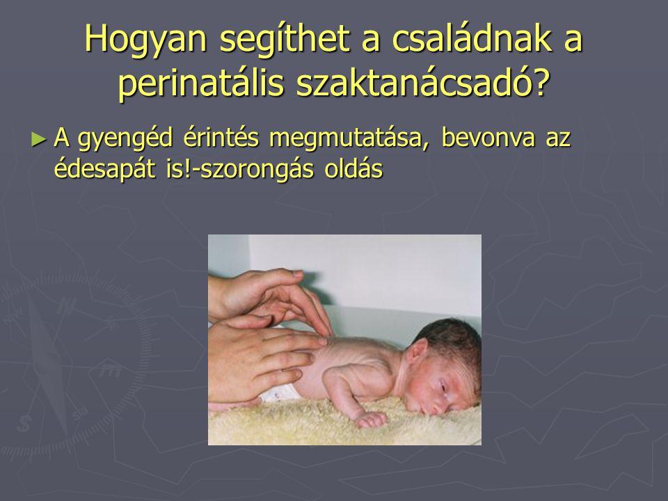 Hogyan segíthet a családnak a perinatális szaktanácsadó? ► A gyengéd érintés megmutatása, bevonva az édesapát is!-szorongás oldás