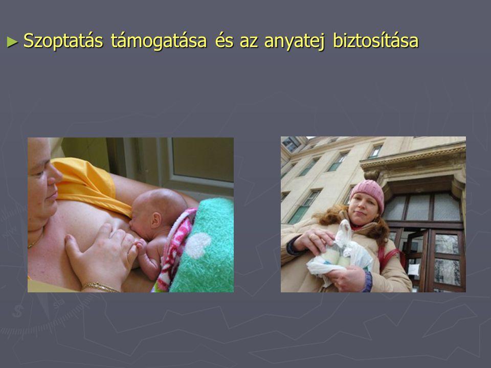 ► Szoptatás támogatása és az anyatej biztosítása
