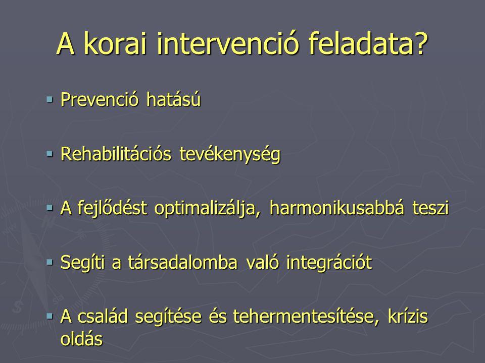 A korai intervenció feladata?  Prevenció hatású  Rehabilitációs tevékenység  A fejlődést optimalizálja, harmonikusabbá teszi  Segíti a társadalomb