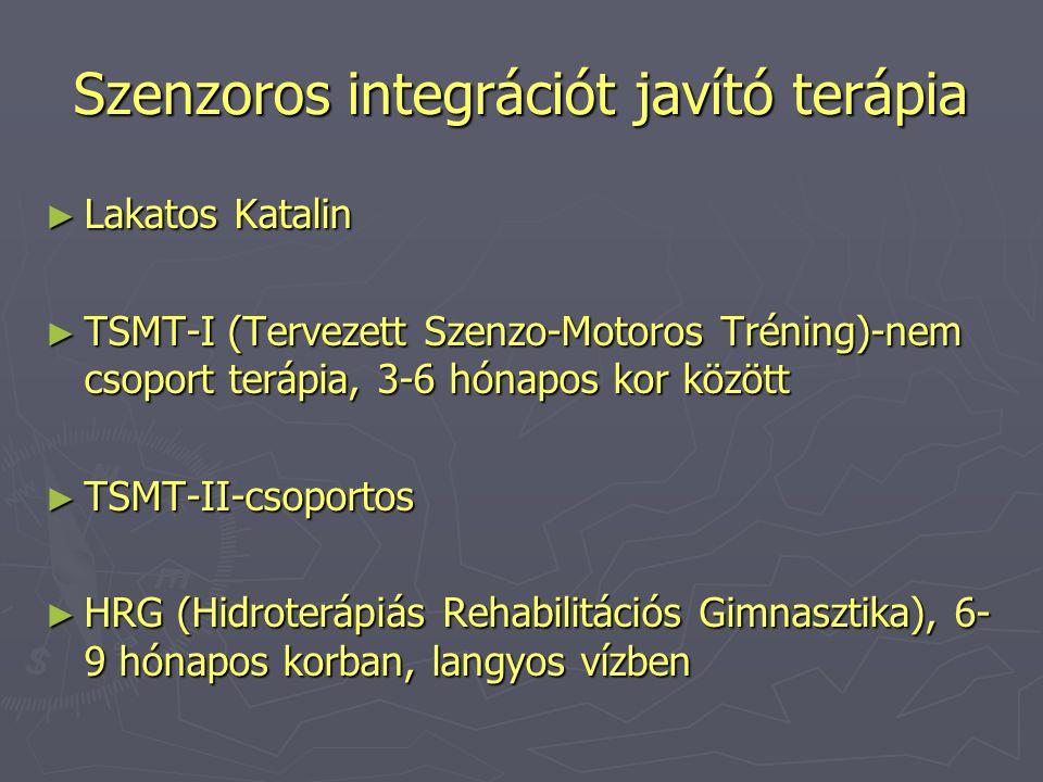 Szenzoros integrációt javító terápia ► Lakatos Katalin ► TSMT-I (Tervezett Szenzo-Motoros Tréning)-nem csoport terápia, 3-6 hónapos kor között ► TSMT-