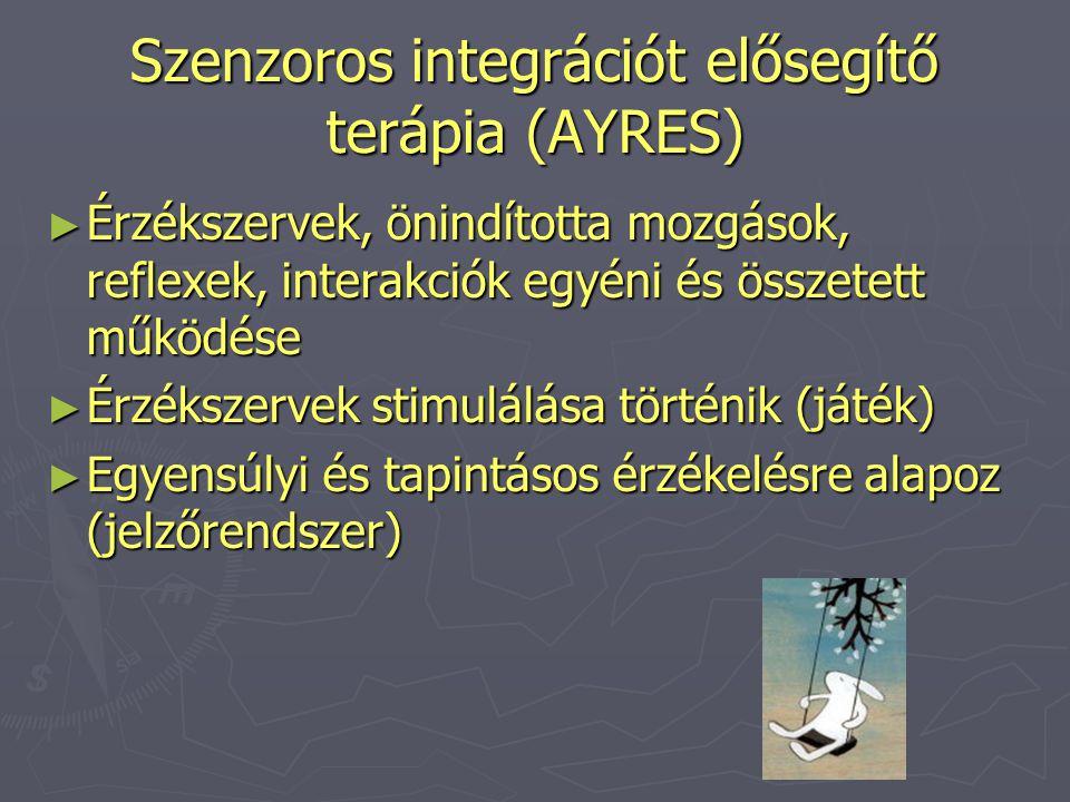 Szenzoros integrációt elősegítő terápia (AYRES) ► Érzékszervek, önindította mozgások, reflexek, interakciók egyéni és összetett működése ► Érzékszerve