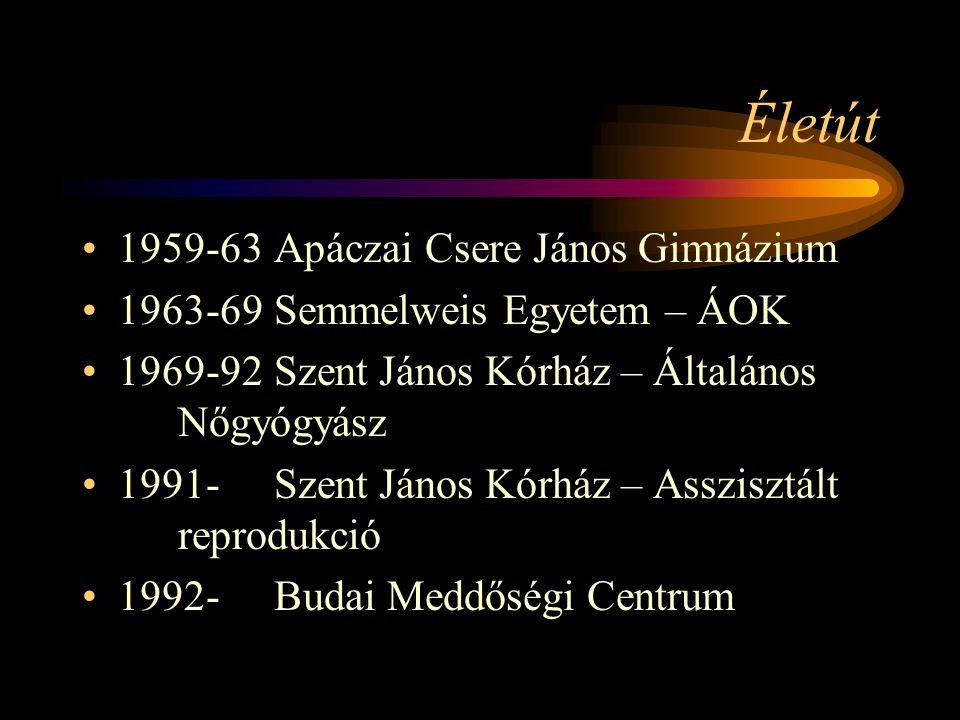 Életút •1959-63 Apáczai Csere János Gimnázium •1963-69Semmelweis Egyetem – ÁOK •1969-92Szent János Kórház – Általános Nőgyógyász •1991-Szent János Kór