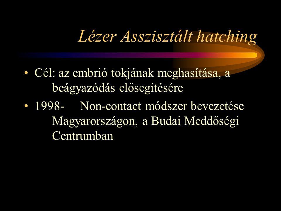 Lézer Asszisztált hatching •Cél: az embrió tokjának meghasítása, a beágyazódás elősegítésére •1998-Non-contact módszer bevezetése Magyarországon, a Bu