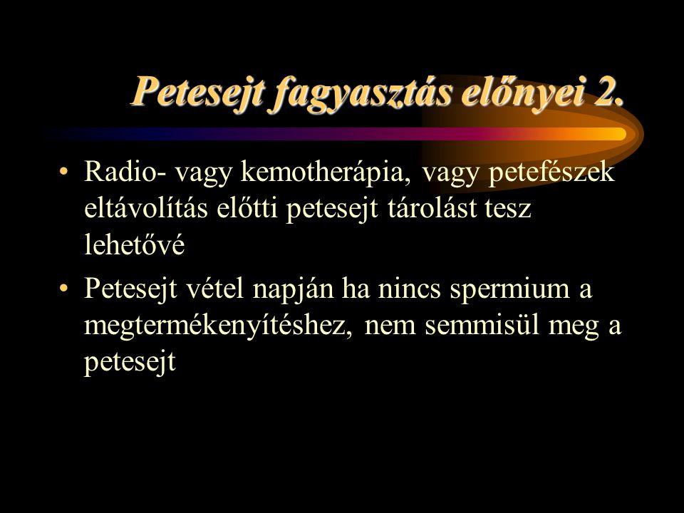 Petesejt fagyasztás előnyei 2. •Radio- vagy kemotherápia, vagy petefészek eltávolítás előtti petesejt tárolást tesz lehetővé •Petesejt vétel napján ha