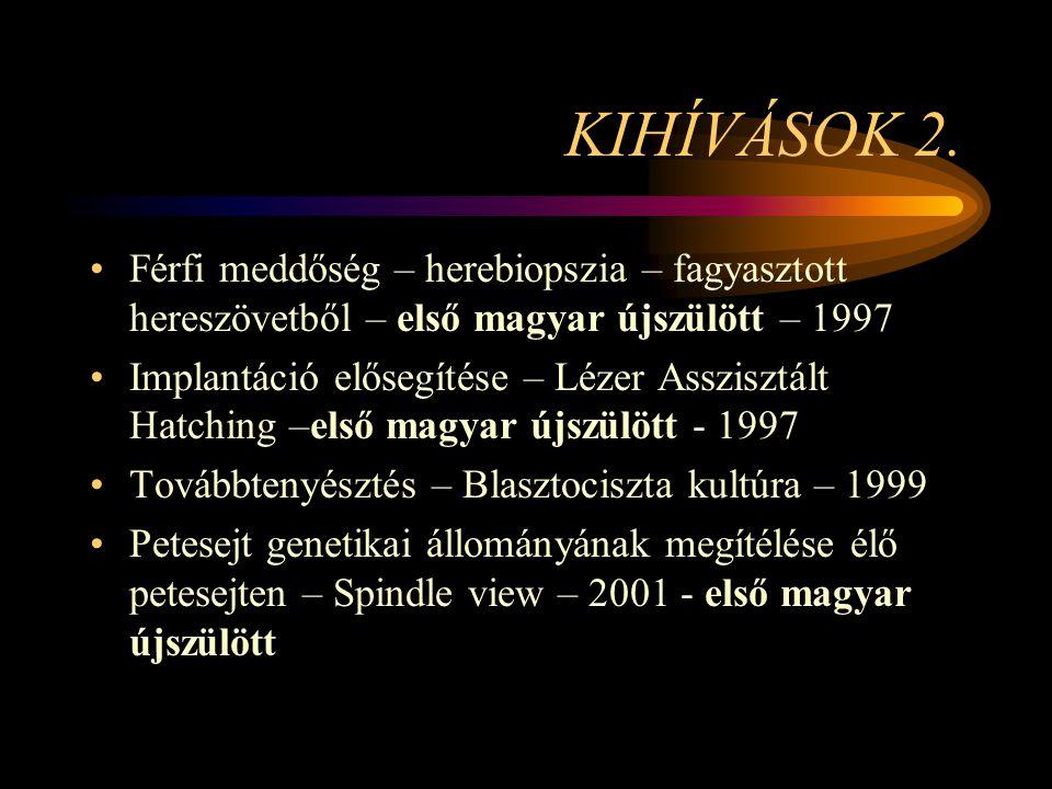 KIHÍVÁSOK 2. •Férfi meddőség – herebiopszia – fagyasztott hereszövetből – első magyar újszülött – 1997 •Implantáció elősegítése – Lézer Asszisztált Ha
