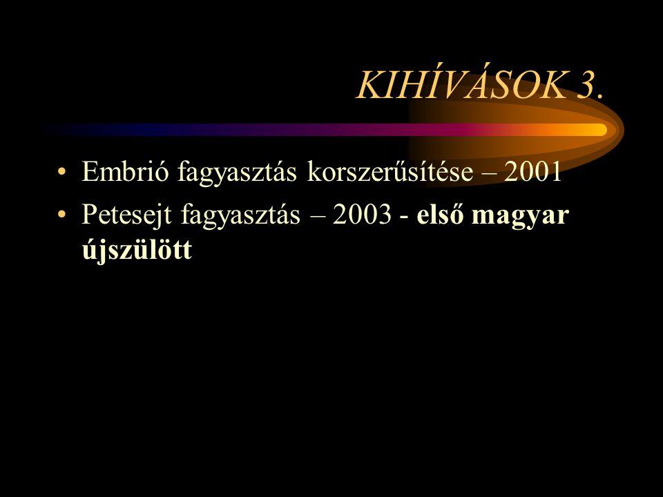 KIHÍVÁSOK 3. •Embrió fagyasztás korszerűsítése – 2001 •Petesejt fagyasztás – 2003 - első magyar újszülött