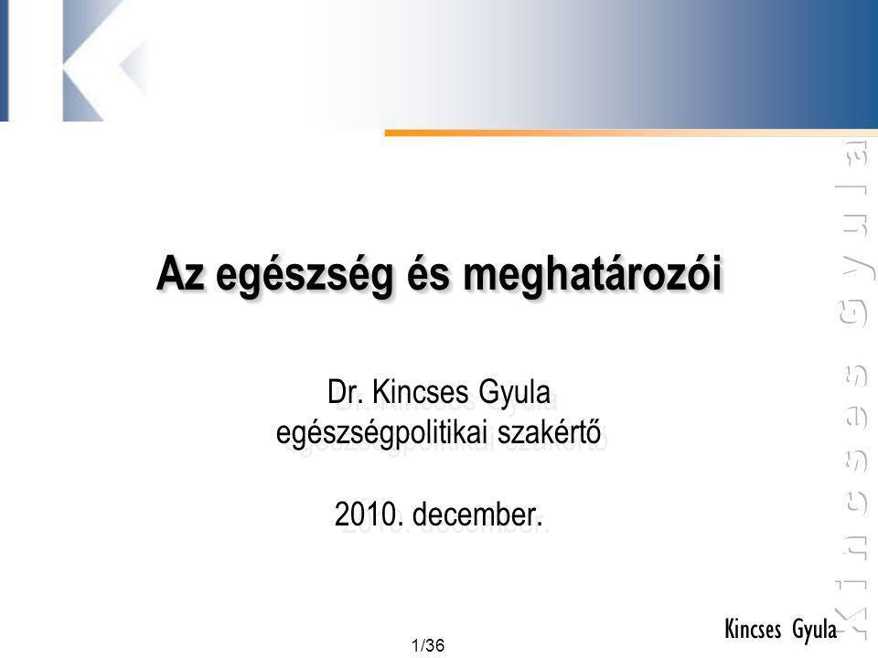 1/36 Kincses Gyula Az egészség és meghatározói Dr. Kincses Gyula egészségpolitikai szakértő 2010. december. Dr. Kincses Gyula egészségpolitikai szakér