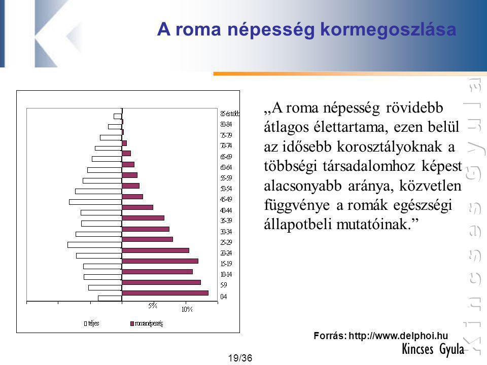 """19/36 Kincses Gyula A roma népesség kormegoszlása Forrás: http://www.delphoi.hu """"A roma népesség rövidebb átlagos élettartama, ezen belül az idősebb k"""