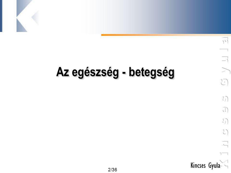 3/36 Kincses Gyula Az egészség meghatározása •Hagyományos, redukált értelmezés: A betegség hiánya.