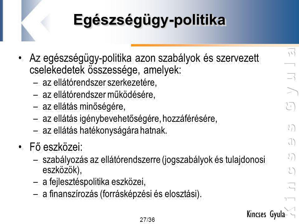 27/36 Kincses Gyula Egészségügy-politikaEgészségügy-politika •Az egészségügy-politika azon szabályok és szervezett cselekedetek összessége, amelyek: –