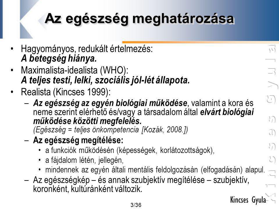 3/36 Kincses Gyula Az egészség meghatározása •Hagyományos, redukált értelmezés: A betegség hiánya. •Maximalista-idealista (WHO): A teljes testi, lelki