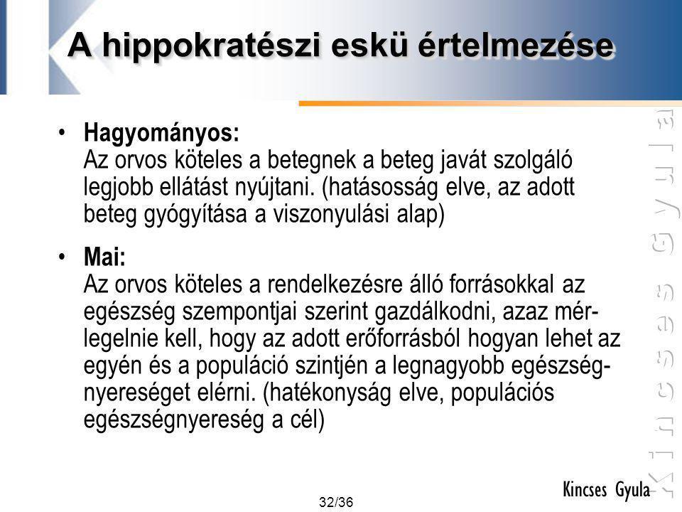 32/36 Kincses Gyula A hippokratészi eskü értelmezése • Hagyományos: Az orvos köteles a betegnek a beteg javát szolgáló legjobb ellátást nyújtani. (hat
