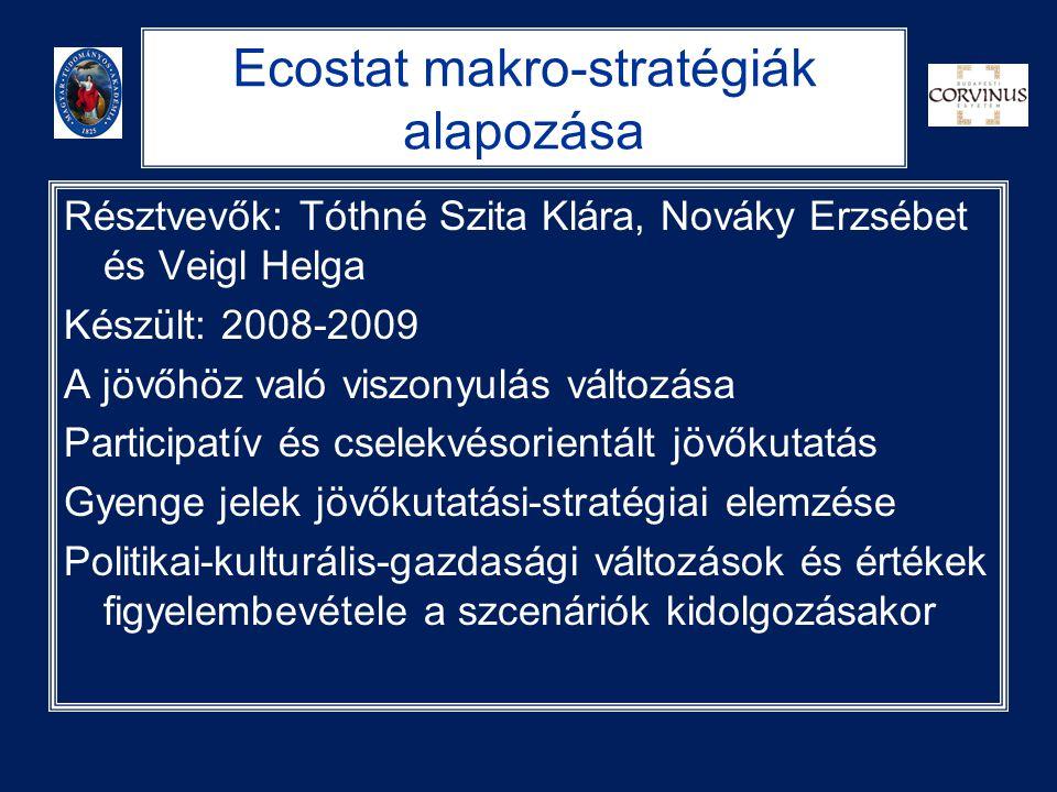 Ecostat makro-stratégiák alapozása Résztvevők: Tóthné Szita Klára, Nováky Erzsébet és Veigl Helga Készült: 2008-2009 A jövőhöz való viszonyulás változ