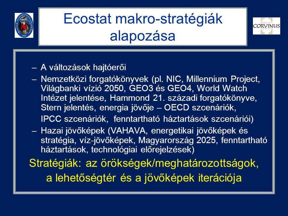 Ecostat makro-stratégiák alapozása –A változások hajtóerői –Nemzetközi forgatókönyvek (pl. NIC, Millennium Project, Világbanki vízió 2050, GEO3 és GEO