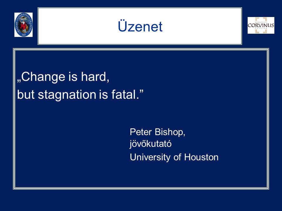 "Üzenet ""Change is hard, but stagnation is fatal."" Peter Bishop, jövőkutató University of Houston"