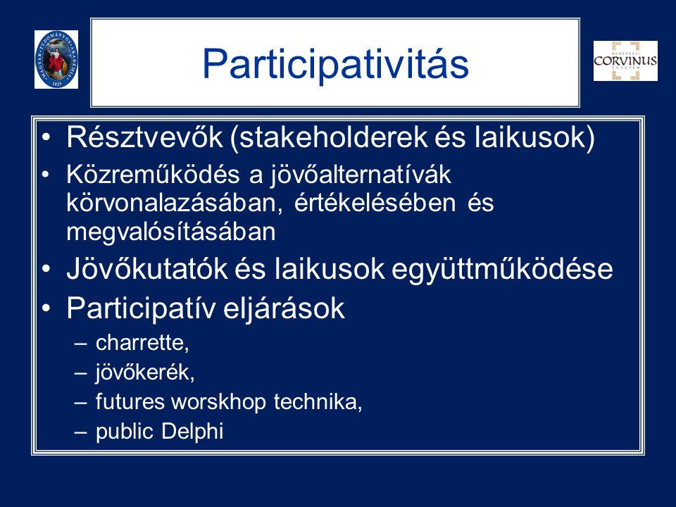 Participativitás •Résztvevők (stakeholderek és laikusok) •Közreműködés a jövőalternatívák körvonalazásában, értékelésében és megvalósításában •Jövőkut