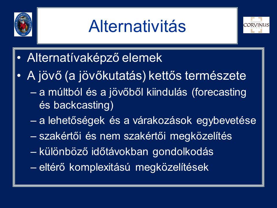 Alternativitás •Alternatívaképző elemek •A jövő (a jövőkutatás) kettős természete –a múltból és a jövőből kiindulás (forecasting és backcasting) –a le