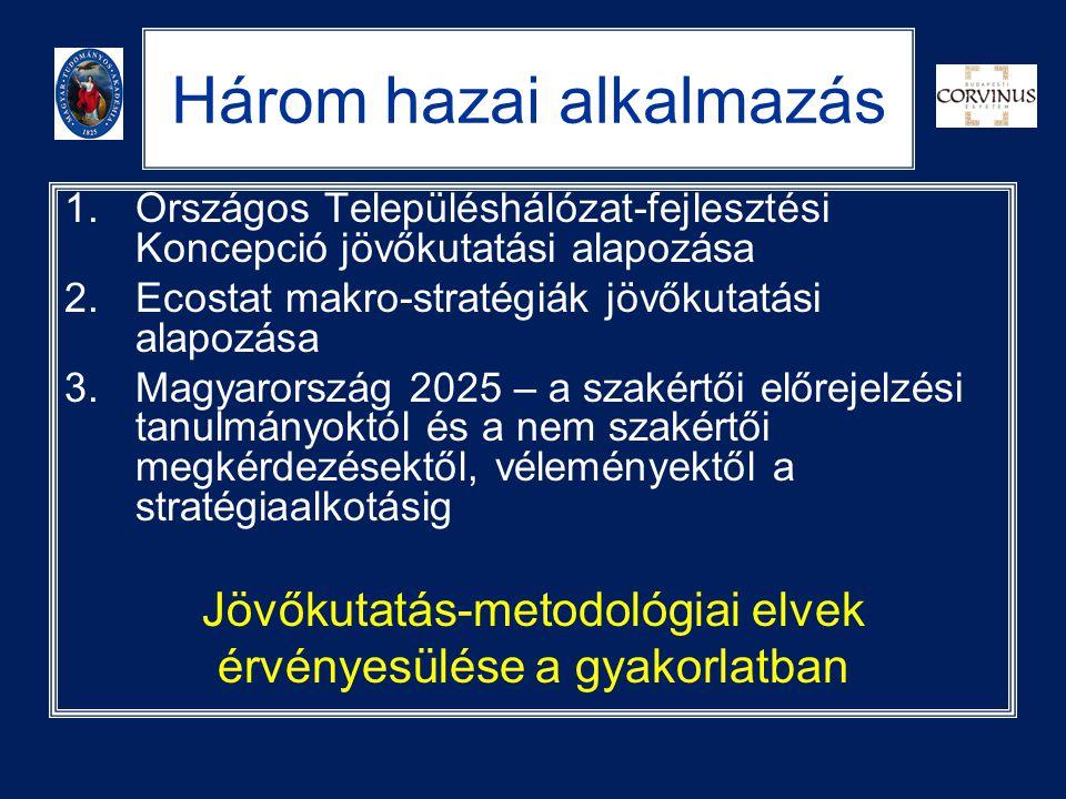 Három hazai alkalmazás 1.Országos Településhálózat-fejlesztési Koncepció jövőkutatási alapozása 2.Ecostat makro-stratégiák jövőkutatási alapozása 3.Ma