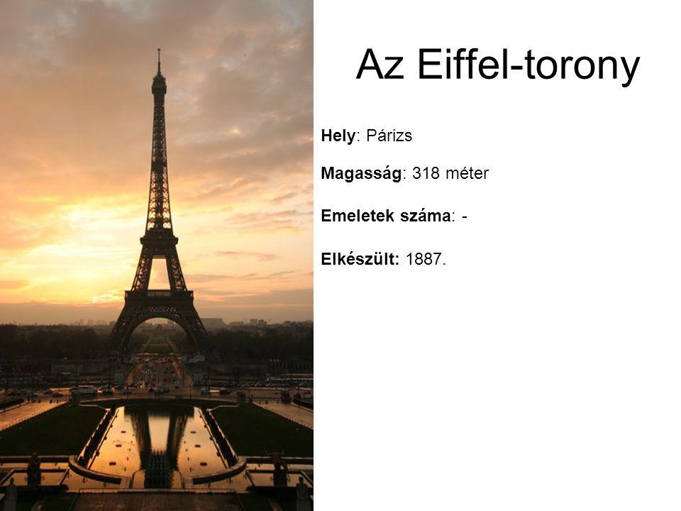Elkészült: 1887. Emeletek száma: - Magasság: 318 méter Hely: Párizs Az Eiffel-torony
