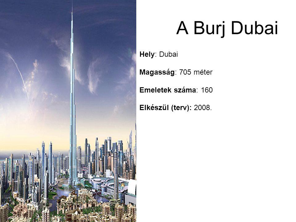 Hely: Dubai Magasság: 705 méter Emeletek száma: 160 Elkészül (terv): 2008. A Burj Dubai