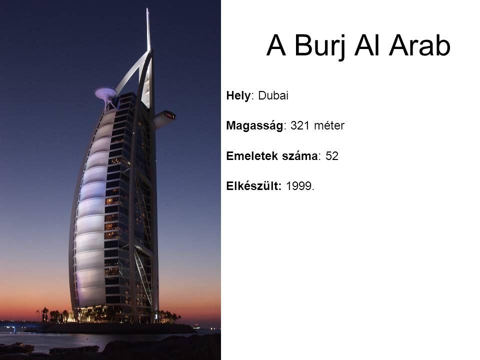 A Burj Al Arab Elkészült: 1999. Emeletek száma: 52 Magasság: 321 méter Hely: Dubai