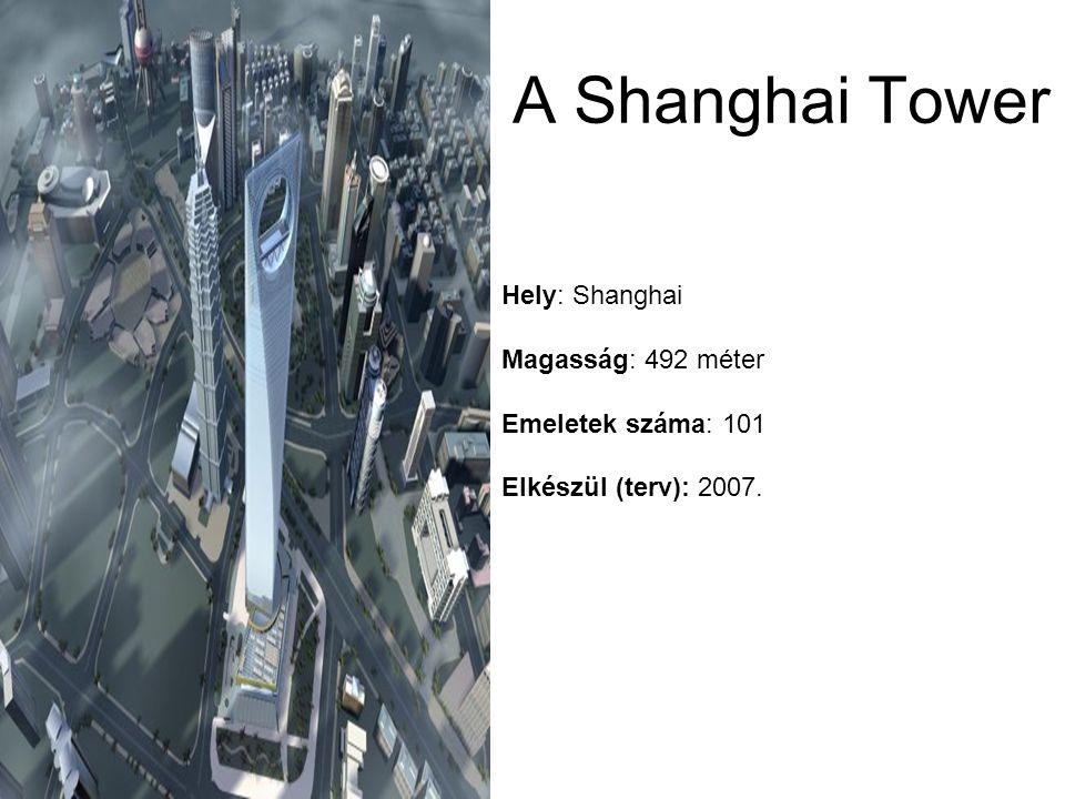 Hely: Shanghai Magasság: 492 méter Emeletek száma: 101 Elkészül (terv): 2007. A Shanghai Tower