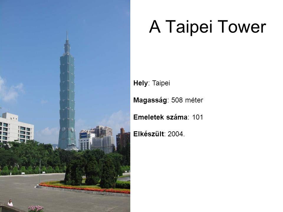 Hely: Taipei Magasság: 508 méter Emeletek száma: 101 Elkészült: 2004. A Taipei Tower