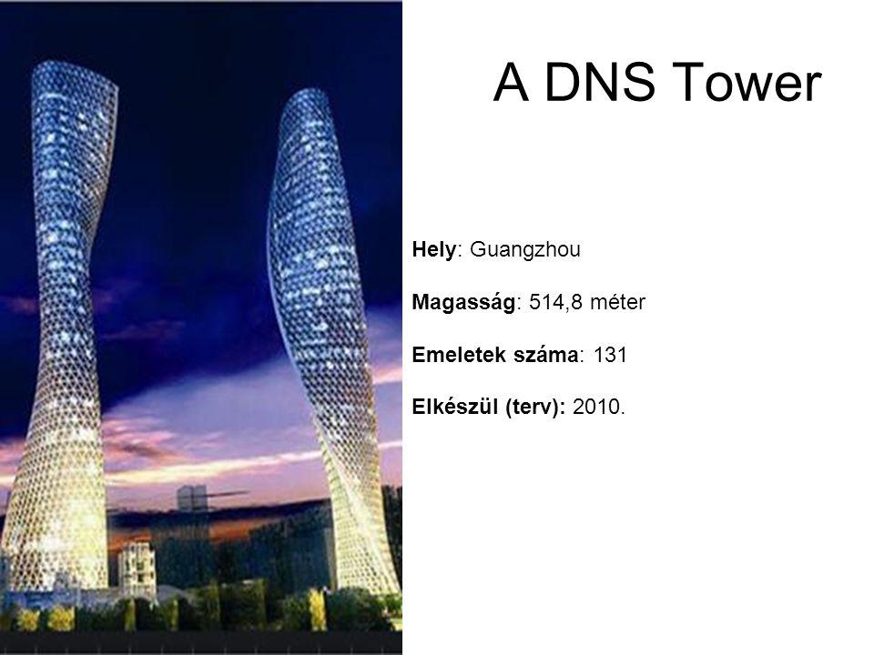 Hely: Guangzhou Magasság: 514,8 méter Emeletek száma: 131 Elkészül (terv): 2010. A DNS Tower