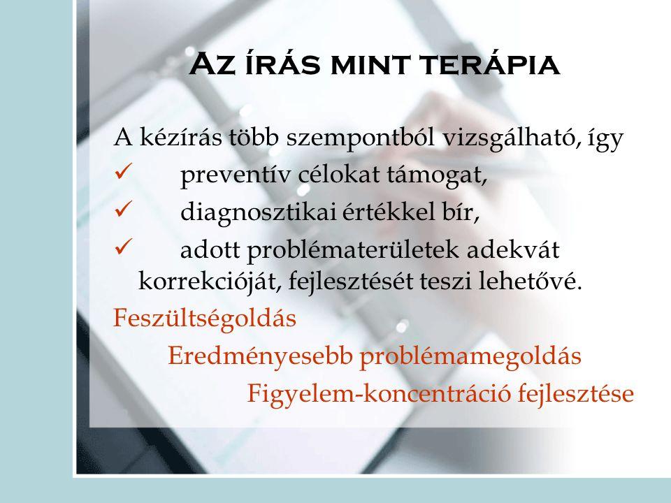 Az írás mint terápia A kézírás több szempontból vizsgálható, így  preventív célokat támogat,  diagnosztikai értékkel bír,  adott problématerületek adekvát korrekcióját, fejlesztését teszi lehetővé.
