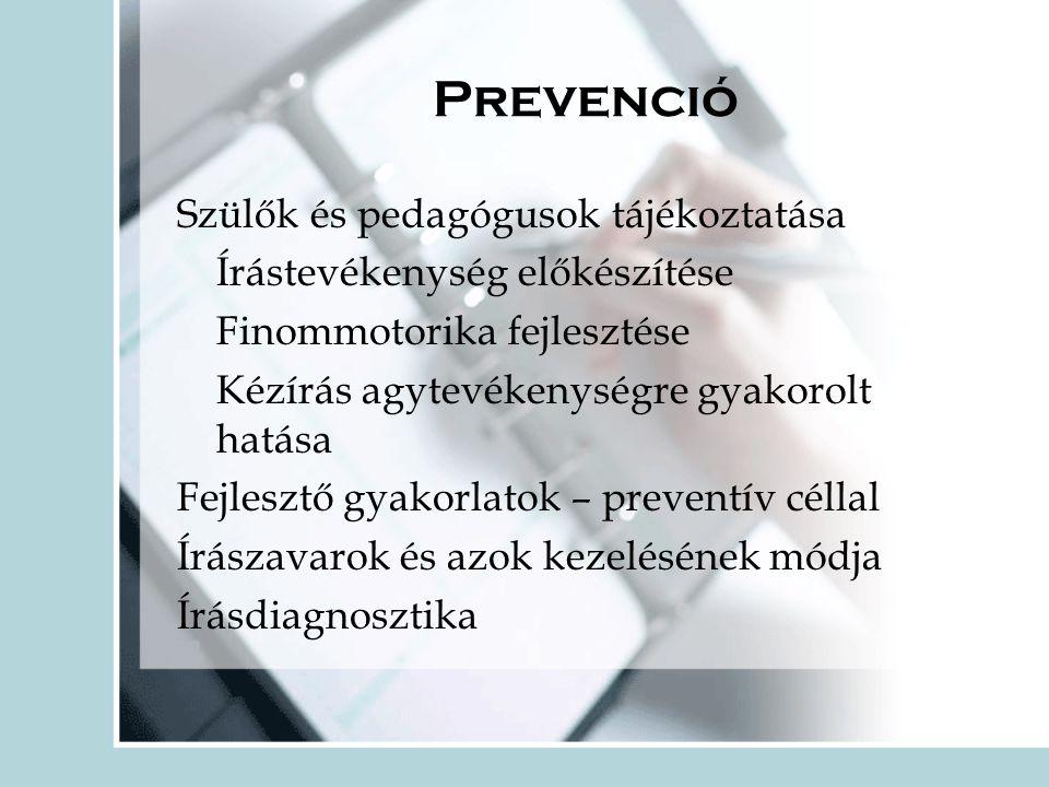 Prevenció Szülők és pedagógusok tájékoztatása Írástevékenység előkészítése Finommotorika fejlesztése Kézírás agytevékenységre gyakorolt hatása Fejlesztő gyakorlatok – preventív céllal Írászavarok és azok kezelésének módja Írásdiagnosztika