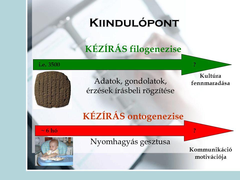 Kiindulópont KÉZÍRÁS filogenezise KÉZÍRÁS ontogenezise i.e.