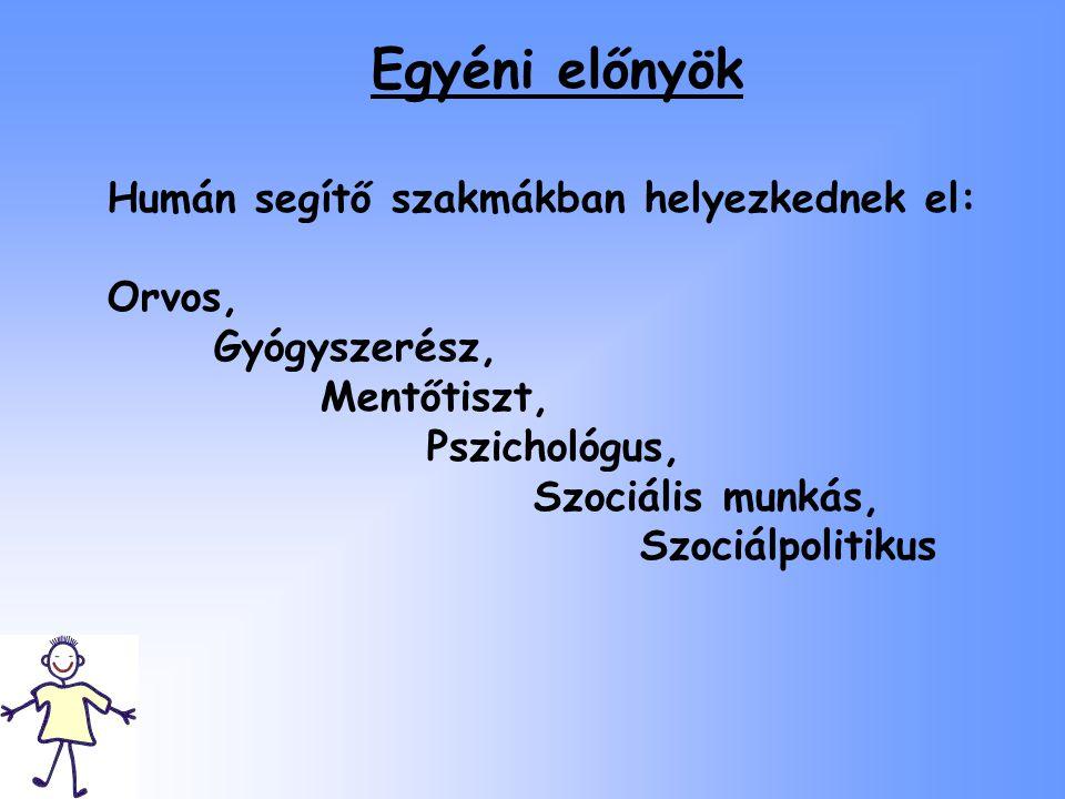Egyéni előnyök Humán segítő szakmákban helyezkednek el: Orvos, Gyógyszerész, Mentőtiszt, Pszichológus, Szociális munkás, Szociálpolitikus