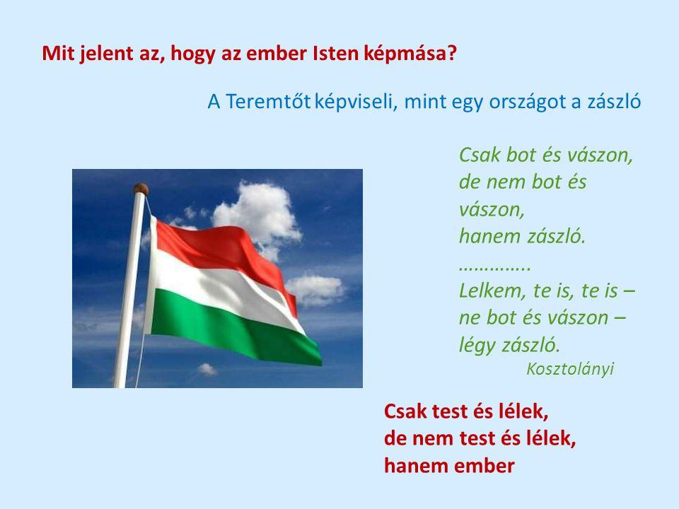 Mit jelent az, hogy az ember Isten képmása? A Teremtőt képviseli, mint egy országot a zászló Csak bot és vászon, de nem bot és vászon, hanem zászló. …