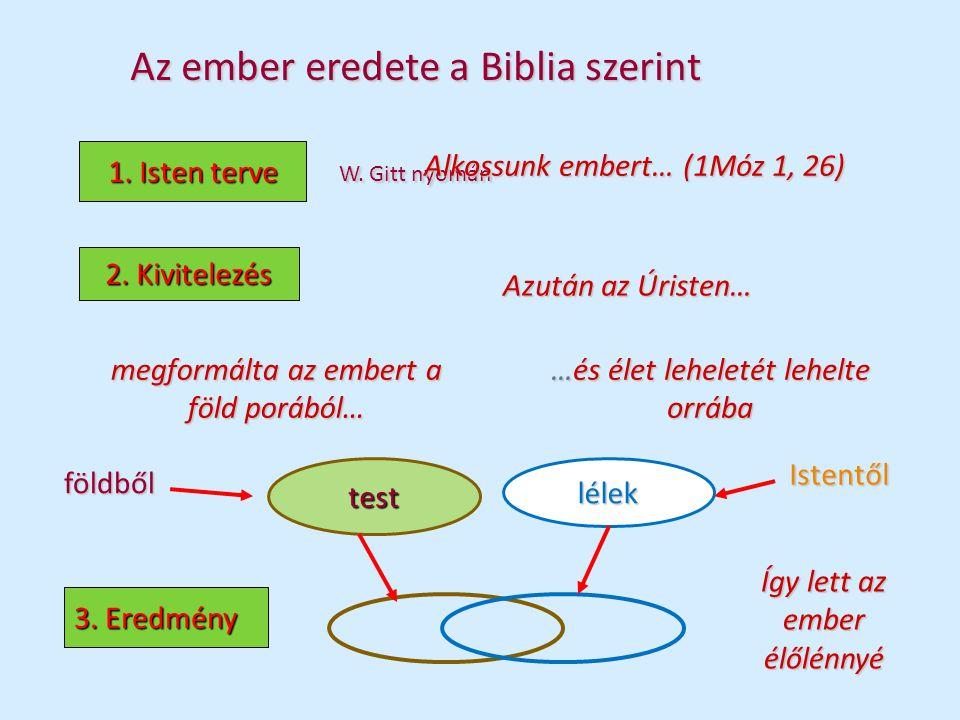 Az ember eredete a Biblia szerint W. Gitt nyomán 1. Isten terve Alkossunk embert… (1Móz 1, 26) 2. Kivitelezés Azután az Úristen… megformálta az embert