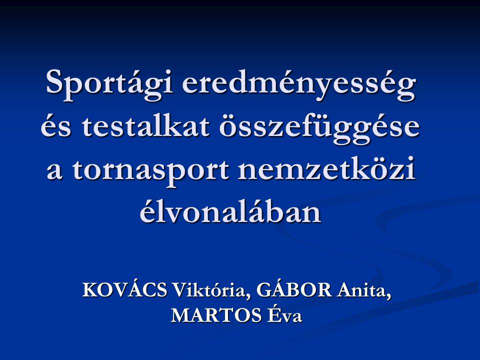 Sportági eredményesség és testalkat összefüggése a tornasport nemzetközi élvonalában KOVÁCS Viktória, GÁBOR Anita, MARTOS Éva