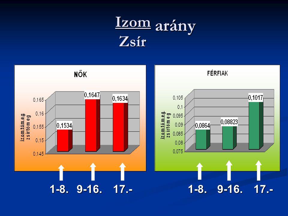 Izom arány Zsír 1-8.1-8.9-16.17.-9-16.17.-