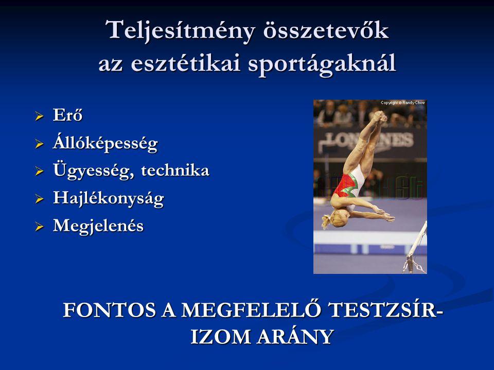 Teljesítmény összetevők az esztétikai sportágaknál  Erő  Állóképesség  Ügyesség, technika  Hajlékonyság  Megjelenés FONTOS A MEGFELELŐ TESTZSÍR-