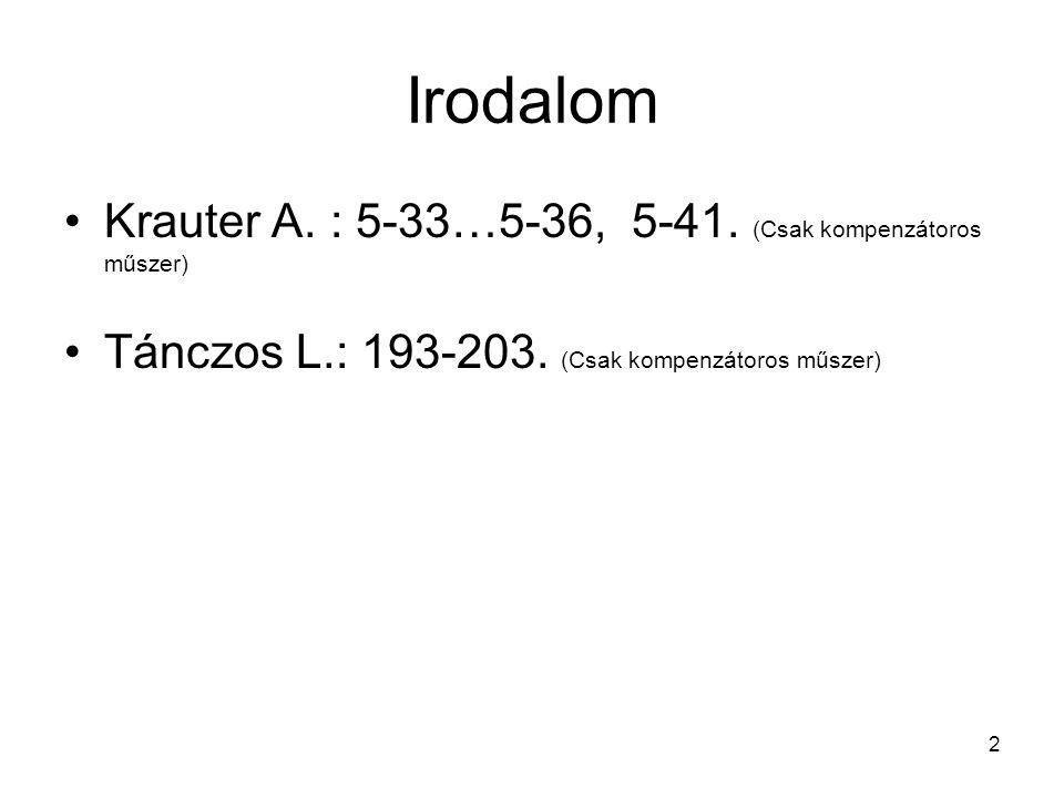 2 Irodalom •Krauter A. : 5-33…5-36, 5-41. (Csak kompenzátoros műszer) •Tánczos L.: 193-203. (Csak kompenzátoros műszer)