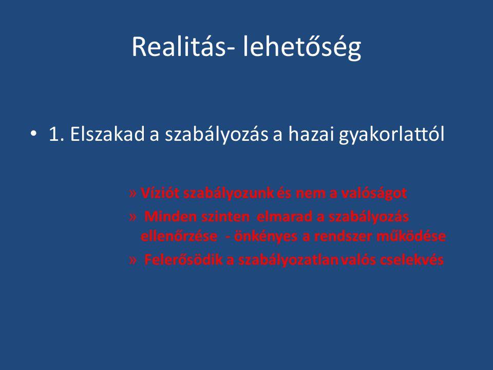 Realitás- lehetőség • 1. Elszakad a szabályozás a hazai gyakorlattól » Víziót szabályozunk és nem a valóságot » Minden szinten elmarad a szabályozás e
