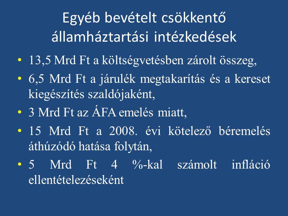 Egyéb bevételt csökkentő államháztartási intézkedések • 13,5 Mrd Ft a költségvetésben zárolt összeg, • 6,5 Mrd Ft a járulék megtakarítás és a kereset kiegészítés szaldójaként, • 3 Mrd Ft az ÁFA emelés miatt, • 15 Mrd Ft a 2008.