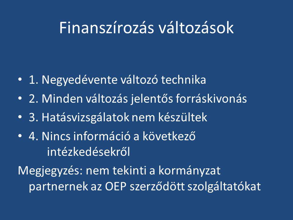 Finanszírozás változások • 1. Negyedévente változó technika • 2.