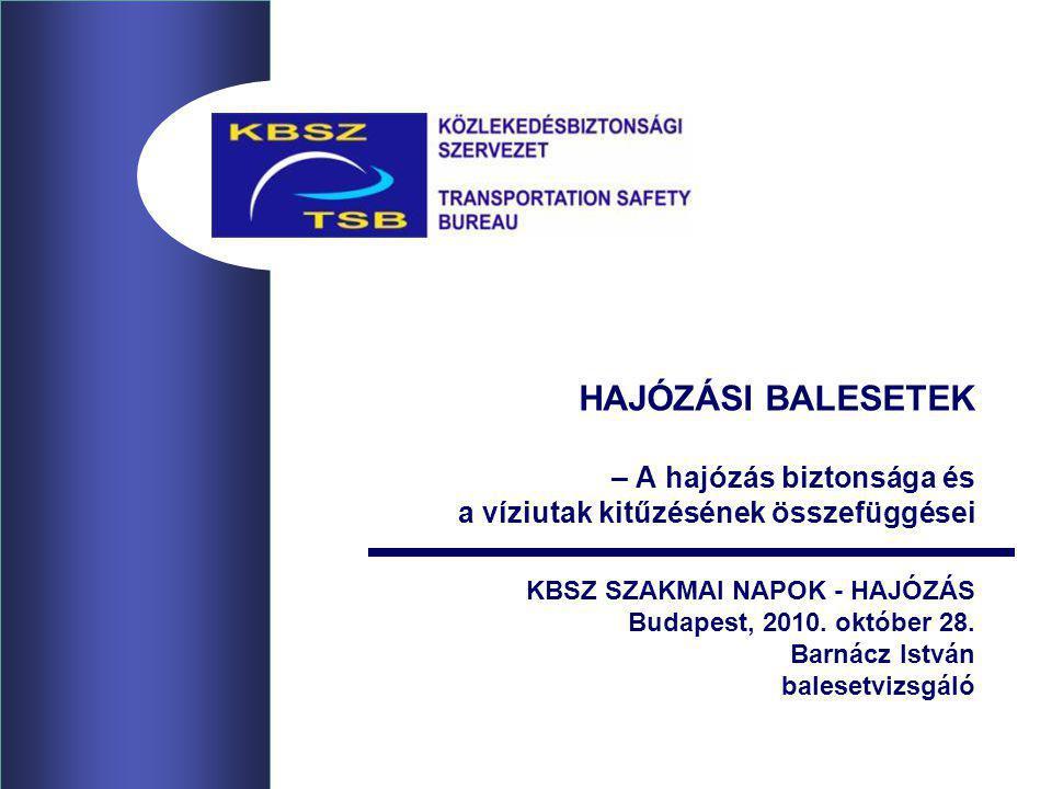 HAJÓZÁSI BALESETEK – A hajózás biztonsága és a víziutak kitűzésének összefüggései KBSZ SZAKMAI NAPOK - HAJÓZÁS Budapest, 2010. október 28. Barnácz Ist