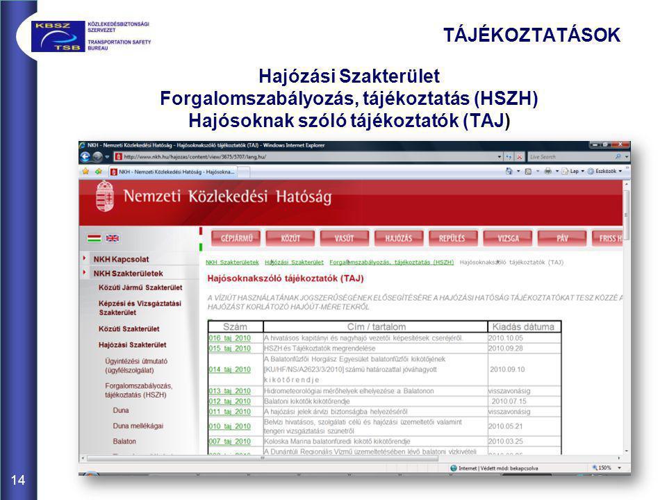 Hajózási Szakterület Forgalomszabályozás, tájékoztatás (HSZH) Hajósoknak szóló tájékoztatók (TAJ) 14 TÁJÉKOZTATÁSOK
