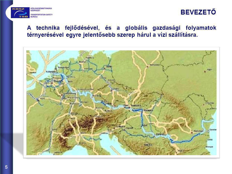 6 A Duna jelentőségét megalapozta 1994-ben átadott Duna-Majna- Rajna csatorna, amely létrehozott egy 3500 km-es kelet-nyugat irányú, Európát átszelő transzkontinentális vízi utat, ami lehetővé tette a Fekete-tenger és az Északi-tenger belvízi hajózási kapcsolatát, így Nyugat-Európa vízi útjai és főbb ipari központjai vízen is elérhetővé váltak.